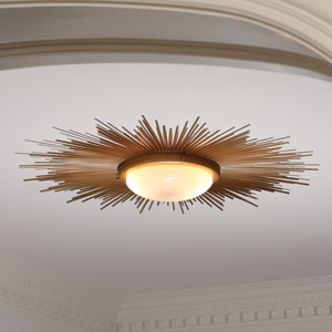 Gold Sunburst Two-Light Flushmount