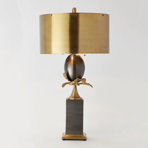 Egg and Palm Brass Two-Light Lamp