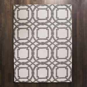 Arabesque Gray and Ivory Rectangular: 5 Ft. x 8 Ft. Area Rug