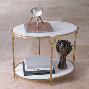 Iron and Stone Side Table