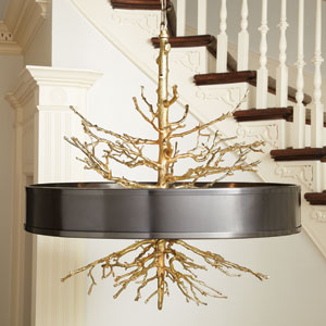 Brass Twig Four-Light Pendant with Bronze Shade