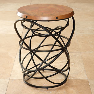 Black Rustic Copper Top Ring Table