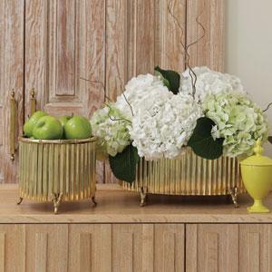 Corrugated Bamboo Brass Small Cachepot
