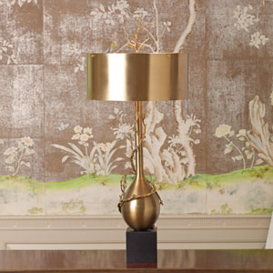 Brass Two-Light Twig Table Lamp