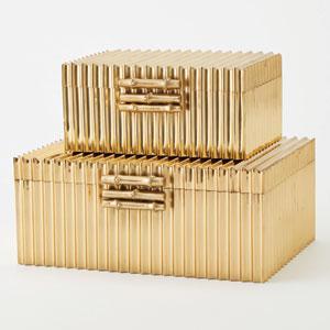 Corrugated Brass Large Bamboo Box