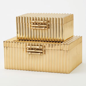 Corrugated Brass Small Bamboo Box