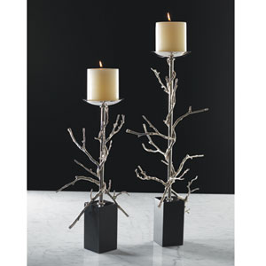 Nickel Large Twig Candle Holder Only