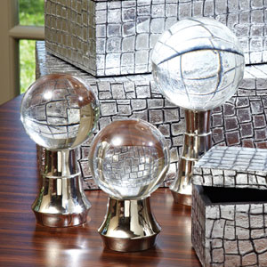 Tiered Nickel Ball Stands, Set of Three