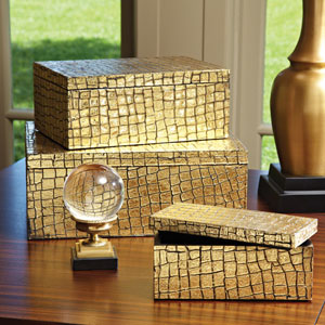 Mock Croc Gold Medium Box