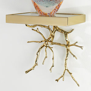Brass Twig Wall Shelf