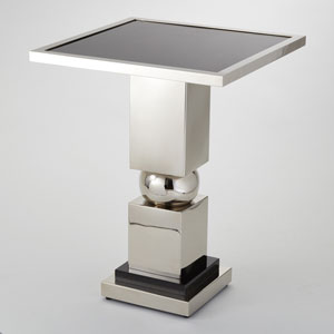 Squeeze Nickel with Black Granite Top Side Table