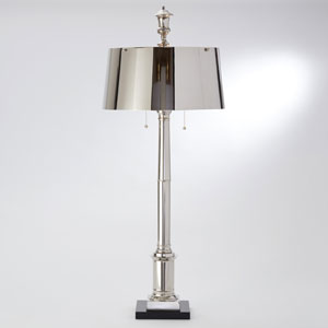 Library Two-Light Nickel Lamp