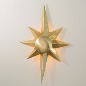 Klismos Star Brass One-Light Sconce