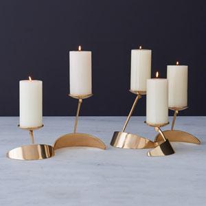 Pinwheel Brass Candleholder