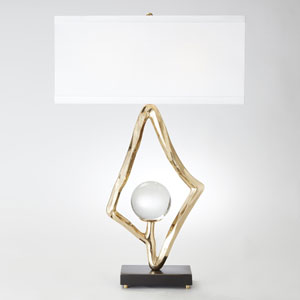 Abstract Brass Two-Light Lamp