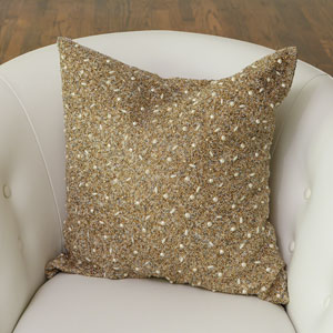 Golden Beaded 20-Inch Pillow