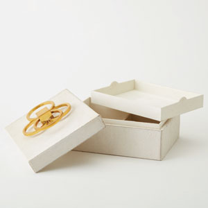 Layered Ivory Hair-on-Hide Circle Box