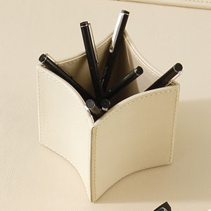 Folded Leather Ivory Pencil Cup