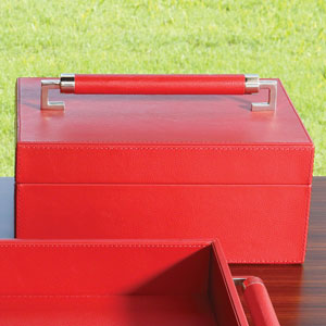 Wrapped Leather Crimson Handle Box