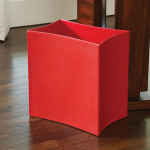 Folded Crimson Leather Waste Basket