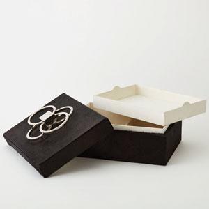 Layered Black Hair-on-Hide Circle Box