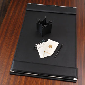 Flap Black Desk Blotter