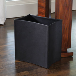 Folded Black Leather Waste Basket