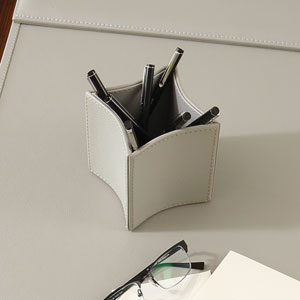 Folded Leather Gray Pencil Cup
