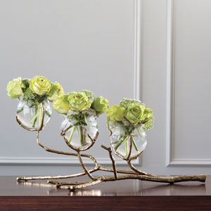 Twig Brass Three Vase Holder