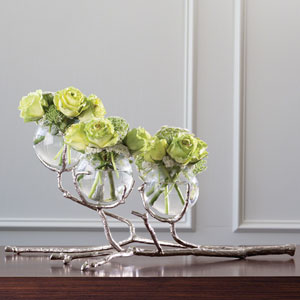 Twig Three-Vase Nickel Holder
