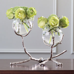 Twig Two-Vase Nickel Holder