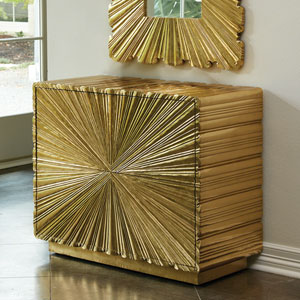 Linen Fold Two-Drawer Brass Chest
