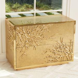 Flower Burst Two-Drawer Brass Cabinet
