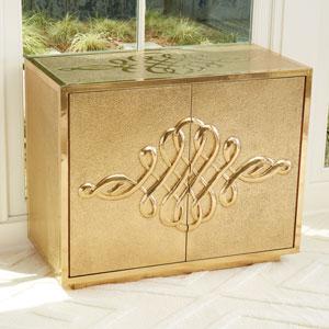 Scroll Two-Door Brass Cabinet