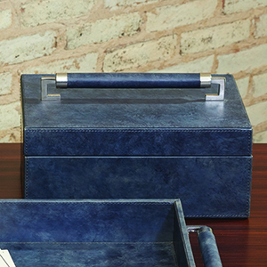Wrapped Blue Wash Leather Handle Box