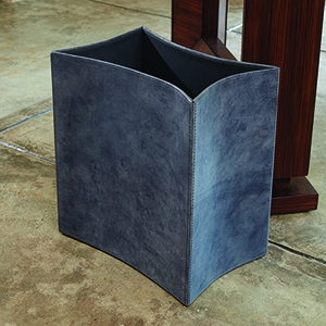 Folded Blue Wash Leather Wastebasket