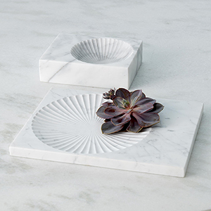 Thin White Carved Marble Plateau