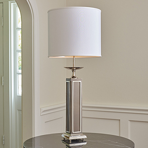 Greco Nickel and Charcoal Large One-Light Lamp