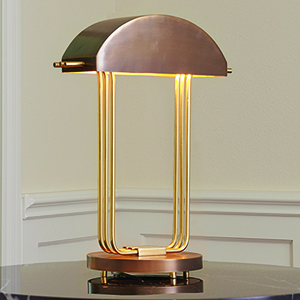 Arc Deco Brass and Bronze One-Light Table Lamp