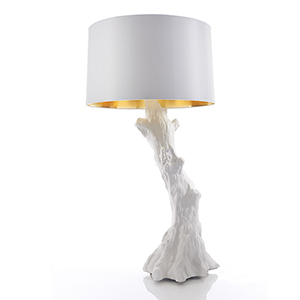 Faux Bois White One-Light Lamp