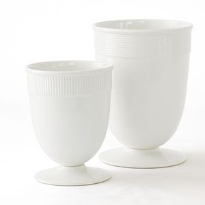 Barbara Barry White Large Banded Ceramic Vase Only