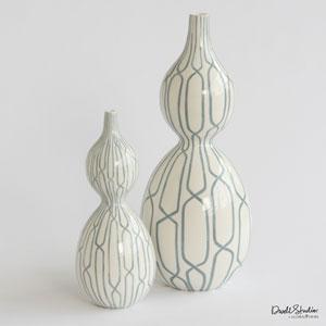 Linking Trellis Double Bulb Small Blue Vase