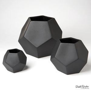 Faceted Matte Black Large Vase