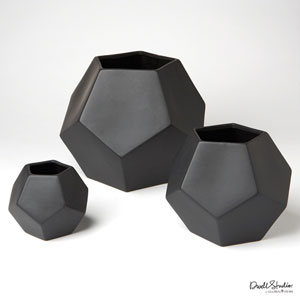 Faceted Matte Black Medium Vase