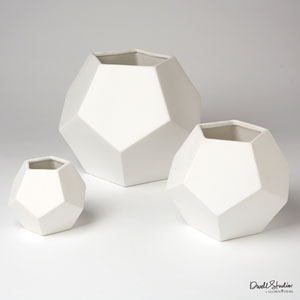 Faceted Matte White Large Vase
