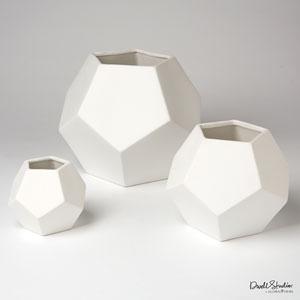 Faceted Matte White Medium Vase