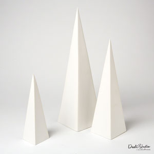 Pyramid Matte White Object, Set of Three