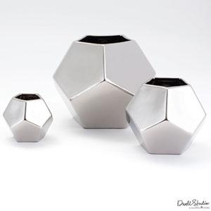 Faceted Medium Silver Vase