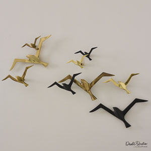 Metallic Flock Antique Brass Wall Decor, Set of Three