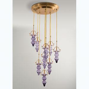 Tea Light Purple Nine-Light Chandelier